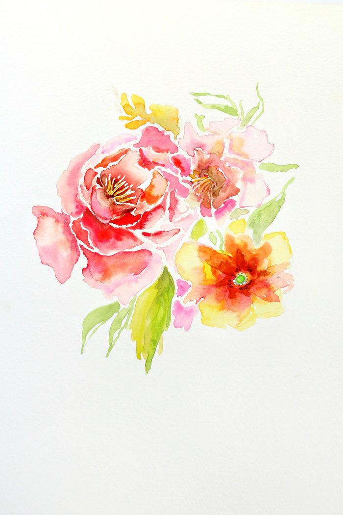 Spring flowers watercolor art print by craftberrybush for Spring flowers watercolor