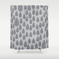 Grey drops Shower Curtain