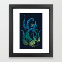 Undersea attack (neon ver.) Framed Art Print