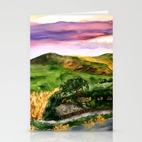 lord of the rings Stationery Cards featuring Lord of the Rings Hobbiton by KS Art & Design