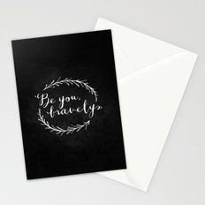 Be You Bravely // White on Black Stationery Cards