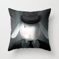 Good-Evening, Mr. Bunny Throw Pillow