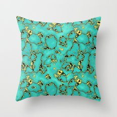 GOLD TURQUOISE Throw Pillow