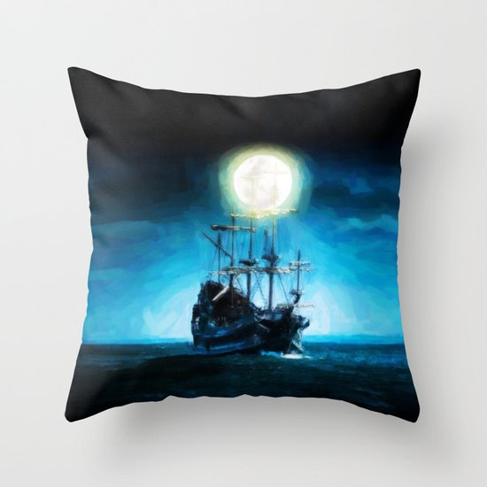 The Flying Dutchman Under The Moon - Painting Style Throw Pillow