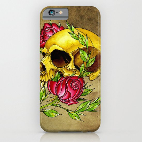 trad skull w rose iPhone & iPod Case