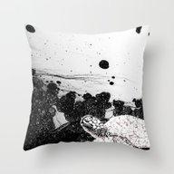 Sea Foam Sea Turtle (B/W… Throw Pillow