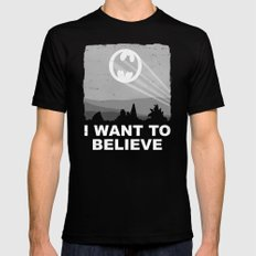 I Want to Believe in a Hero Black SMALL Mens Fitted Tee