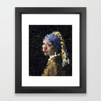 Pixelated Girl With A Pe… Framed Art Print