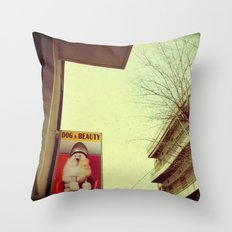 Dog and Beauty Throw Pillow