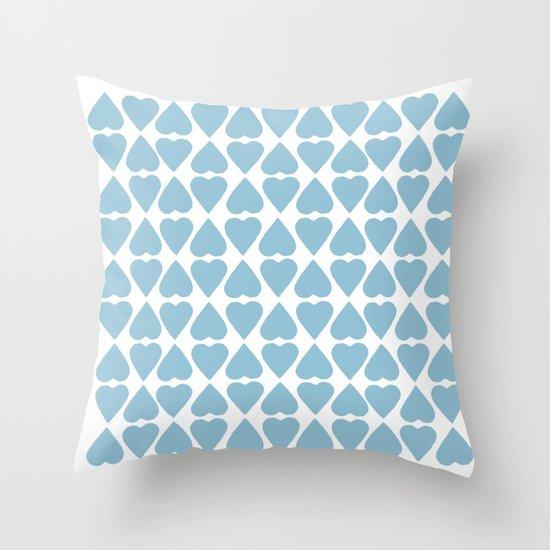 Diamond Hearts Repeat Blue Throw Pillow