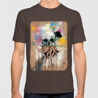 Skull Roots Mens Fitted Tee Brown SMALL