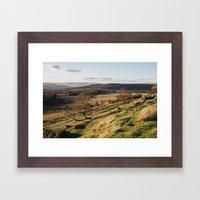 Trees on a hillside at sunset. Upper Padley, Derbyshire, UK. Framed Art Print