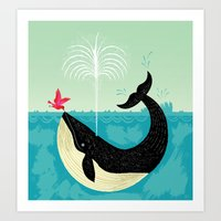 bird Art Prints featuring The Bird and The Whale by Oliver Lake