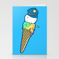 Police Cream Stationery Cards
