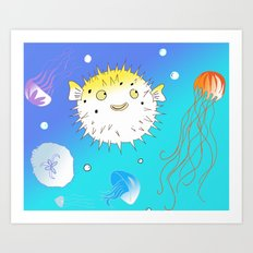 Little Fugu (Blue) Art Print