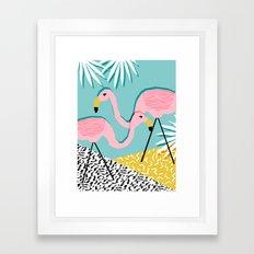 Bro - wacka design memphis throwback minimal retro hipster 1980s 80s neon pop art flamingo lawn Framed Art Print
