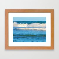 Abstract vibrant splashing waves off the coast of Queensland Framed Art Print