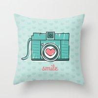 Green Smile Throw Pillow