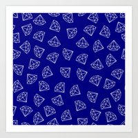 Navy Blue Diamond Pattern Art Print