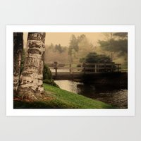 Fog At Dawes Bridge Art Print