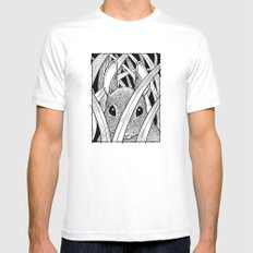 Bunny in the Grass White SMALL Mens Fitted Tee
