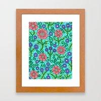 Wildflowers In Aqua Framed Art Print