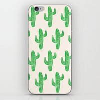 Linocut Cacti Green iPhone & iPod Skin