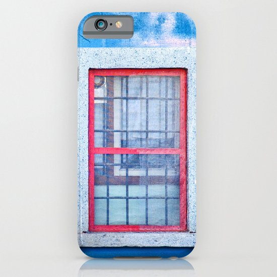 Window with red frame on blue wall iPhone & iPod Case