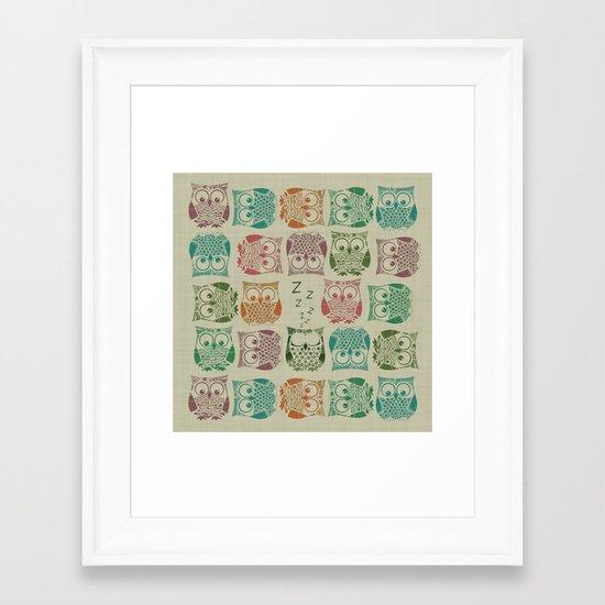 vintage sherbet owls Framed Art Print