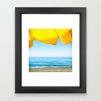 Yellow Beach Brolly With… Framed Art Print