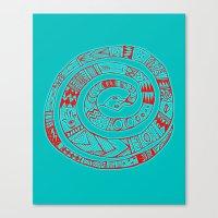Snake Entwine - red blue folk art pattern  Canvas Print