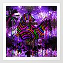 Zebra and Purple Starlight Art Print