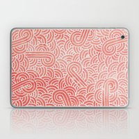 Peach echo and white swirls doodles Laptop & iPad Skin