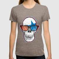 The 3D Star Punk Womens Fitted Tee Tri-Coffee SMALL