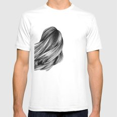 hair White SMALL Mens Fitted Tee