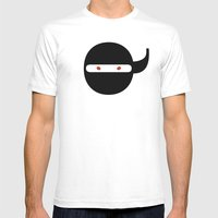 Bodoni Ninja Mens Fitted Tee White SMALL