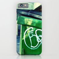 iPhone & iPod Case featuring Green graffiti dumpster. by John Martino