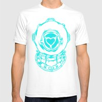 Love Helmet: Blue Mens Fitted Tee White SMALL
