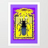 Yellow Sunflower & Blue-… Art Print