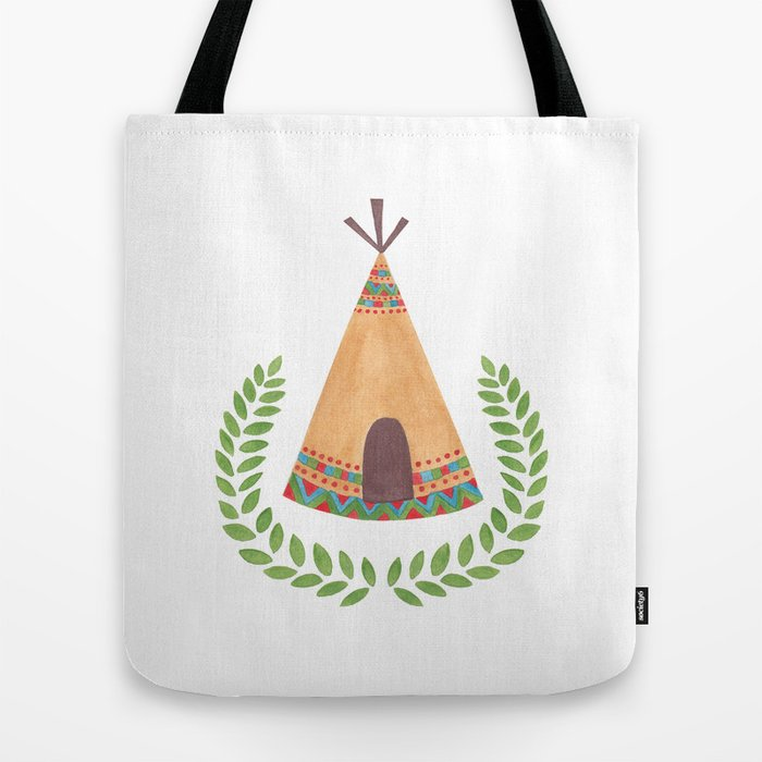 Tipi Watercolor Illustration on Tote Bag by Haidi Shabrina