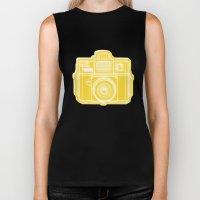 I Still Shoot Film Holga Logo - Sunshine Yellow Biker Tank