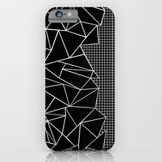Abstract Grid Outline White on Black on Side Slim Case iPhone 6s