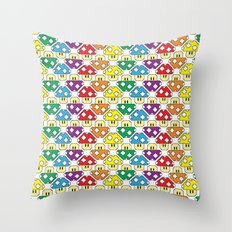 Rainbow Mushrooms Throw Pillow