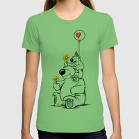 Papa Bear & Baby Bear Womens Fitted Tee Grass SMALL
