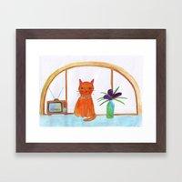 Cat In A Apartment  Framed Art Print