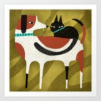 CAT ON BACK Art Print