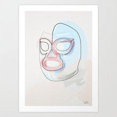 One Line Nacho Libre Mask Art Print