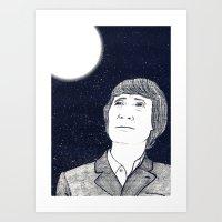 Man And Moon Art Print