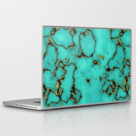 Gold turquoise laptop ipad skin by oksana smith society6 for Housse macbook air 13 paul smith