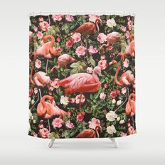 Floral and Flemingo Pattern Shower Curtain